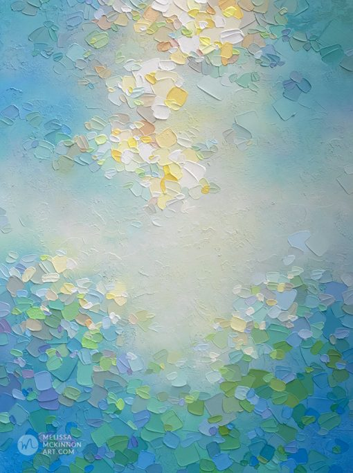 Modern abstract sky painting of white clouds and aqua blue sky Giclee art print on canvas by Canadian abstract artist Melissa McKinnon painted with palette knife and impasto texture - Tranquil Garden VII