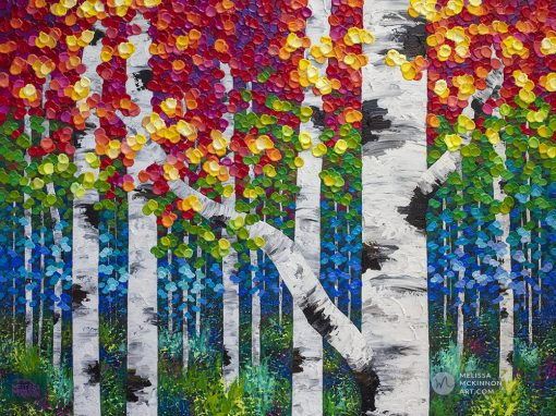 "Large original painting of aspen trees and birch trees in colorful autumn forest by landscape artist Melissa McKinnon created with a palette knife and thick texture fine art prints for sale 'Alive With Color' 48""x36"""