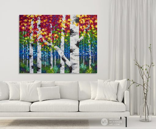 "Large original painting of aspen trees and birch trees in colorful autumn forest hanging in modern interior by landscape artist Melissa McKinnon created with a palette knife and thick texture fine art prints for sale 'Alive With Color' 48""x36"""