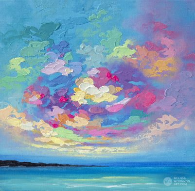 Fine Art Painting of Colourful Ocean Sea Beach and Cloudy Sunset Sky by Canadian Landscape Artist Melissa McKinnon Art Prints on Canvas 'Colorbration Study'