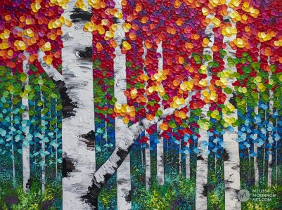"Colorful autumn forest landscape painting of aspen trees and birch trees in the fall by contemporary landscape artist Melissa McKinnon painted with palette knife and impasto texture Fine art prints for sale 'Luminous Autumn' 48""x36"""