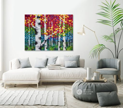 "Colorful autumn forest landscape painting of aspen trees and birch trees in the fall hanging in modern interior by contemporary landscape artist Melissa McKinnon painted with palette knife and impasto texture Fine art prints for sale 'Luminous Autumn' 48""x36"""
