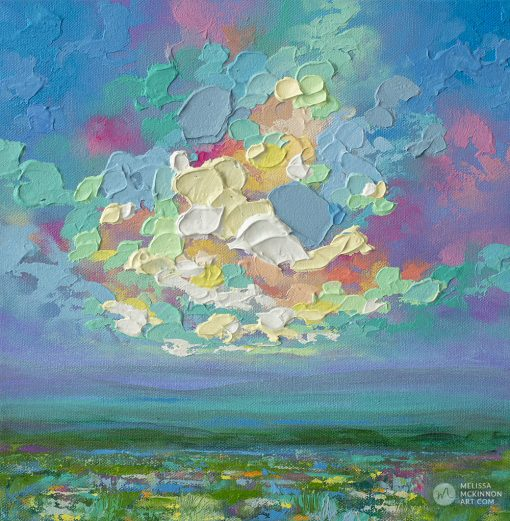 Original landscape painting of wildflower prairie field and colorful sunset cloudy sky by Canadian Artist Melissa McKinnon 'PRAIRIE VIEW II'