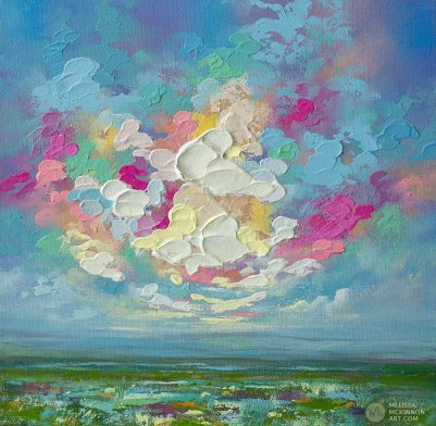 Colorful landscape painting of wildflower prairie field and dramatic sunset cloudy sky by contemporary Artist Melissa McKinnon 'PRAIRIE VIEW I'