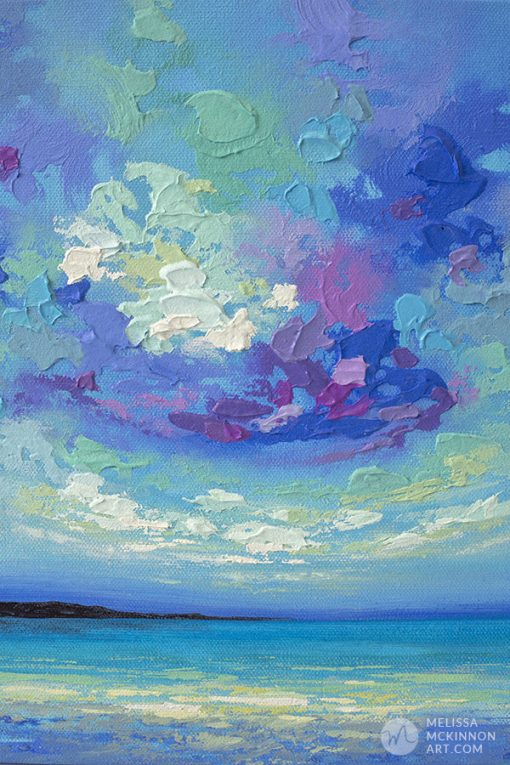 Original Painting of Colourful Blue Ocean Sea Beach and Sunset Sky by Canadian Landscape Artist Melissa McKinnon SEAVIEW II