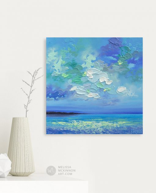 Colorful Painting of Blue Ocean Sea Beach and Sunset Sky by Contemporary Landscape Artist Melissa McKinnon Art Prints on Canvas SEAVIEW I