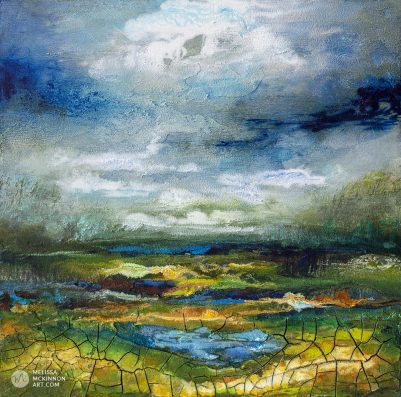 Original painting of moody green and blue landscape with cloudy sky by Artist Melissa McKinnon fine art prints for sale