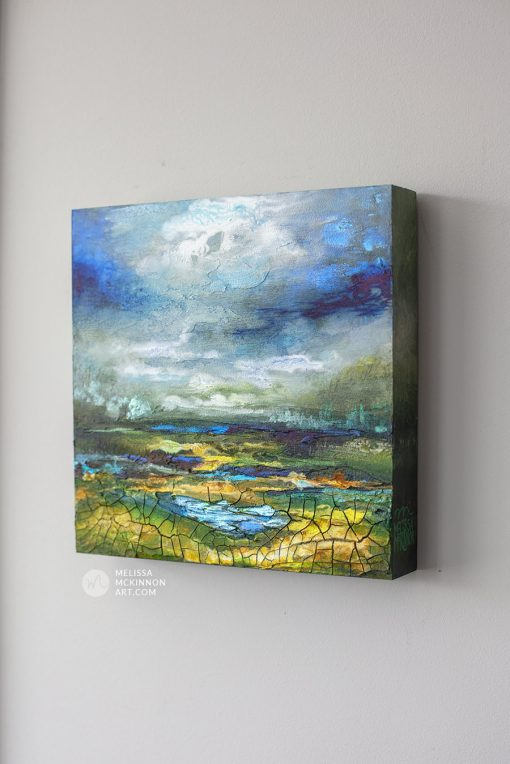Original painting of moody green and blue landscape with cloudy sky by Artist Melissa McKinnon