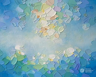Original abstract painting of blue sky and white clouds by Canadian abstract painter Melissa McKinnon painted with palette knife and impasto texture Tranquil Garden 8