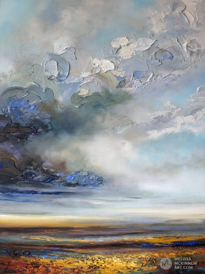 Original painting of moody abstract landscape with stormy cloudy sky and prairie field by Canadian Artist Melissa McKinnon title Hope On the Horizon
