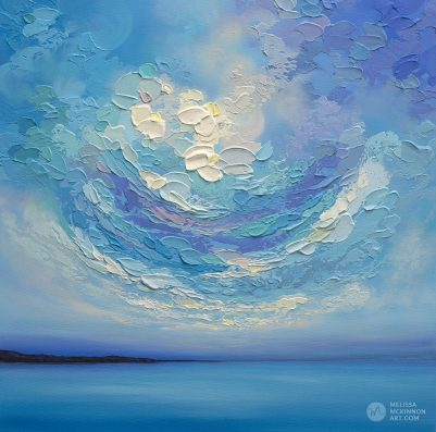 "Colourful Acrylic Painting of Ocean Blue Seascape and Cloudy Sunset Sky by American Landscape Artist Melissa McKinnon Art ""A New Day Rising"""