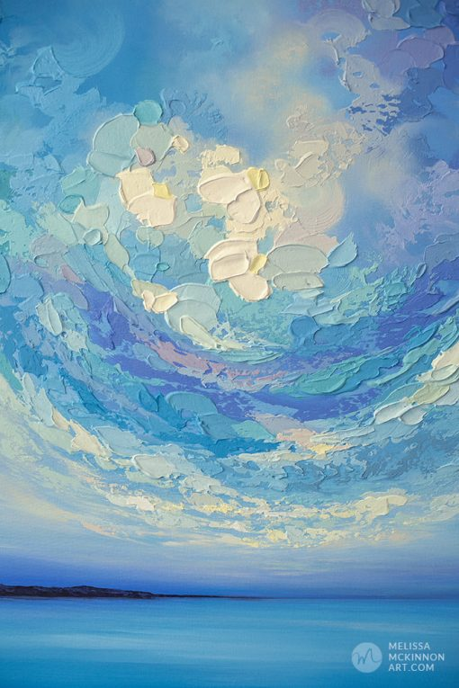 """Colourful Acrylic Painting of Ocean Blue Seascape and Cloudy Sunset Sky by American Landscape Artist Melissa McKinnon Art """"A New Day Rising"""""""