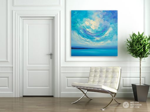 "Colourful Acrylic Painting of Ocean Blue Seascape and Cloudy Sunset Sky by American Landscape Artist Melissa McKinnon Art displayed in modern home interior ""A New Day Rising"""