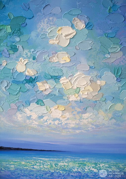"Colourful Original Painting of Ocean Blue Seascape and Cloudy Sunset Sky by Canadian Contemporary Landscape Artist Melissa McKinnon Art ""Beautiful Day"""