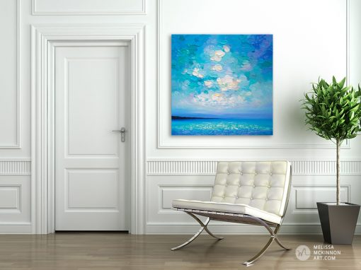 "Colourful Original Painting of Ocean Blue Seascape and Cloudy Sunset Sky by Canadian Contemporary Landscape Artist Melissa McKinnon displayed in modern home interior ""Beautiful Day"""