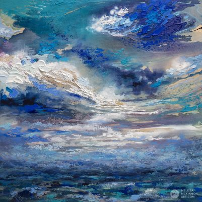 "Large abstract landscape painting with dramatic sky clouds by Contemporary Canadian Artist Melissa McKinnon Mixed Media Art ""Breakthrough"""