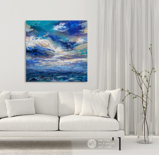 "Large abstract landscape painting with dramatic sky clouds by Contemporary Canadian Artist Melissa McKinnon displayed in a modern living room interior ""Breakthough"""