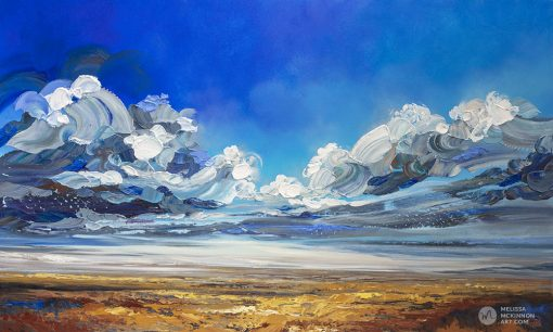 """Dramatic landscape painting of cloudy stormy sky over prairie field by contemporary Canadian Artist Melissa McKinnon """"Can't Tame the Wild"""""""
