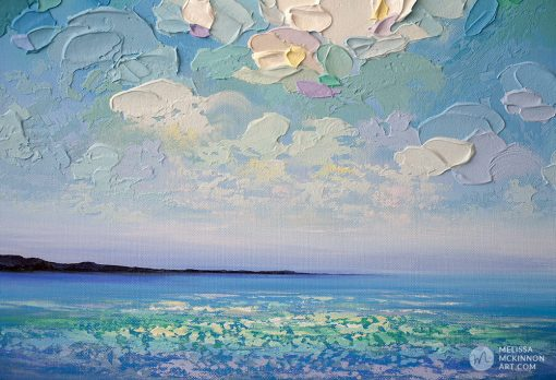 "Colourful Abstract Landscape Painting of Ocean Blue Seascape and Cloudy Sunset Sky by Canadian Contemporary Artist Melissa McKinnon Art ""Dawn Of Hope"""