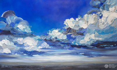 "Dramatic landscape painting of cloudy stormy sky and ocean seascape by contemporary Canadian Artist Melissa McKinnon ""In My Wake"""