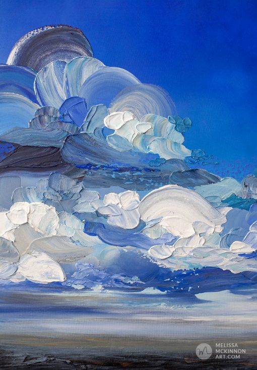 """Dramatic landscape painting of cloudy stormy sky and ocean seascape by contemporary Canadian Artist Melissa McKinnon """"In My Wake"""""""