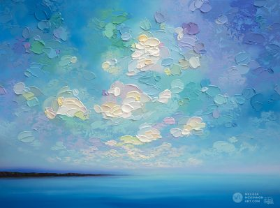 "Original Abstract Landscape Painting of Blue Ocean Seascape and Cloudy Sunset Sky by Contemporary Artist Melissa McKinnon Art created with a palette knife and thick impasto texture displayed in a modern bedroom interior ""Into the Calm"""