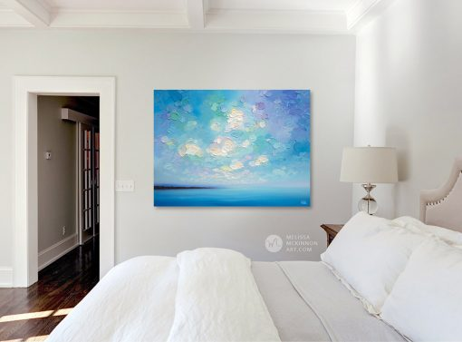 """Original Abstract Landscape Painting of Blue Ocean Seascape and Cloudy Sunset Sky by Contemporary Artist Melissa McKinnon Art created with a palette knife and thick impasto texture displayed in a modern bedroom interior """"Into the Calm"""""""