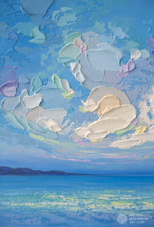 """Small Original Landscape Painting of Blue Ocean Seascape and Cloudy Sky by Contemporary Artist Melissa McKinnon Art """"Seaview III"""""""