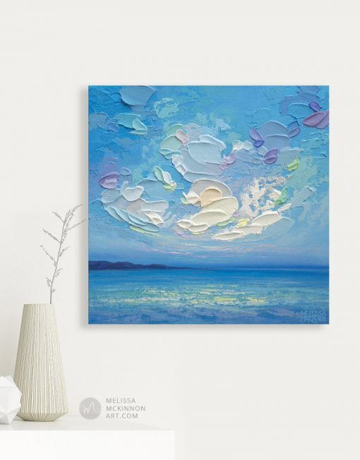 """Small Original Landscape Painting of Blue Ocean Seascape and Cloudy Sky by Contemporary Artist Melissa McKinnon Art displayed in a modern home interior """"Seaview III"""""""