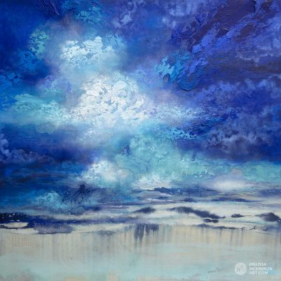 "Large abstract landscape painting with dramatic sky blue sky and stormy clouds by Contemporary Canadian Artist Melissa McKinnon Mixed media Art ""Seeking Light"""