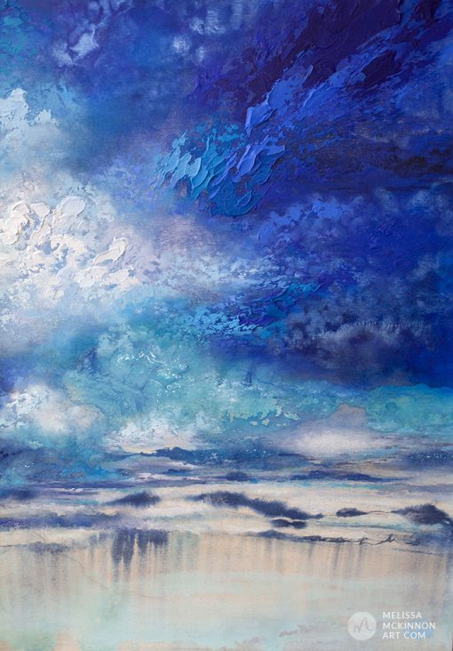 """Large abstract landscape painting with dramatic sky blue sky and stormy clouds by Contemporary Canadian Artist Melissa McKinnon Mixed media Art """"Seeking Light"""""""