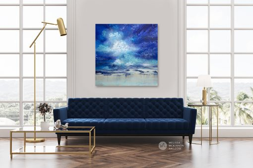"""Large abstract landscape painting with dramatic sky blue sky and stormy clouds by Contemporary Canadian Artist Melissa McKinnon displayed in modern living room interior """"Seeking Light"""""""