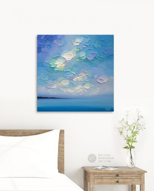 "Original Abstract Painting of Blue Ocean Seascape and Cloudy Sky by Canadian Contemporary Artist Melissa McKinnon Art displayed in a modern home interior ""Softly Sway"""