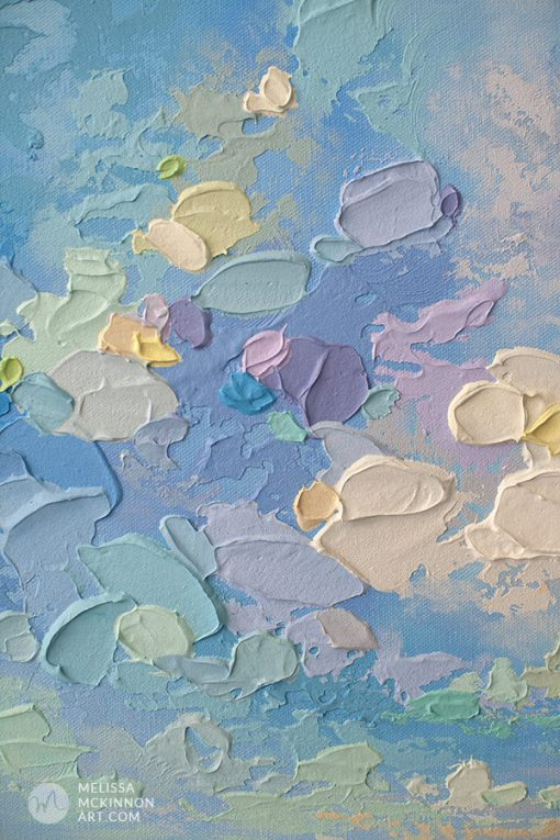 """Colourful Seascape Painting of Blue Ocean and Cloudy Sky by Contemporary Landscape Artist Melissa McKinnon Art created with palette knife and thick impasto texture """"Sun Daze"""""""