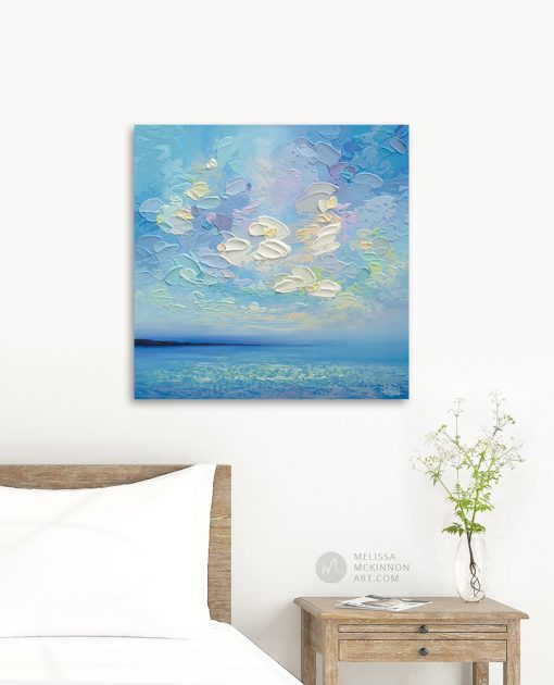 """Colourful Seascape Painting of Blue Ocean and Cloudy Sky by Contemporary Landscape Artist Melissa McKinnon Art created with palette knife and thick impasto texture displayed in modern home interior """"Sun Daze"""""""