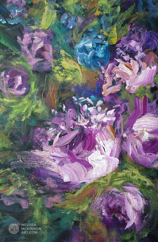 """Original flower painting of purple and white flowers by contemporary artist Melissa McKinnon fine art prints for sale """"Enchanted Garden II'"""