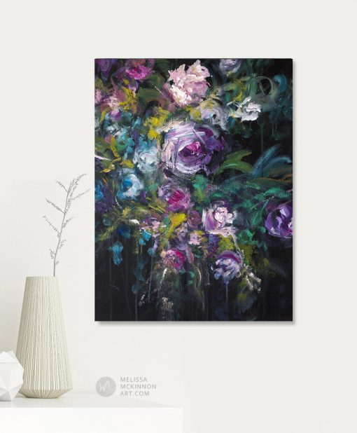 "Original flower painting of purple and white flowers by contemporary artist Melissa McKinnon fine art prints for sale ""Enchanted Garden'"