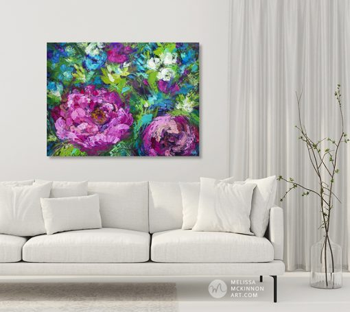 Original flower painting of pink and purple flowers by contemporary artist Melissa McKinnon fine art prints 'Love Blooms Here'
