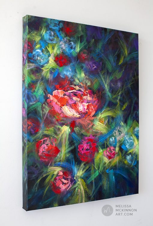 Original flower painting of red roses and peony flowers by contemporary artist Melissa McKinnon fine art prints for sale 'Secret Garden II'