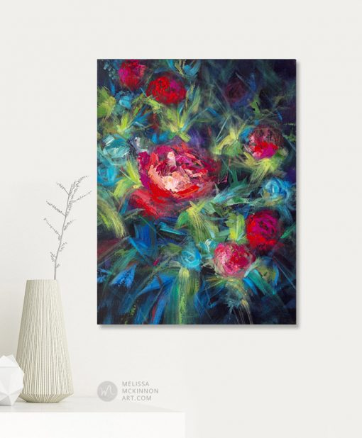 Beautiful flower painting of red roses and peony flowers by contemporary artist Melissa McKinnon fine art prints 'Secret Garden I'
