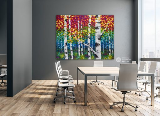Large textured original painting of aspen trees and birch trees in a colorful autumn forest by landscape artist Melissa McKinnon 'Autumn Grace'