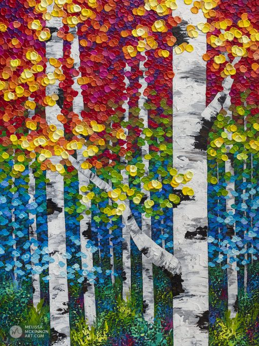 Original textured painting of birch trees and aspen trees in a colorful autumn forest by landscape artist Melissa McKinnon 'Cascading Autumn'