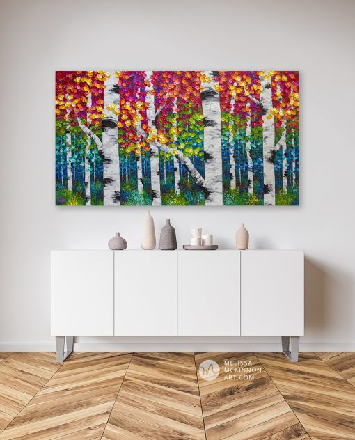 Original textured painting of aspen trees and birch trees in a colorful autumn forest by landscape artist Melissa McKinnon 'Forest In Color'