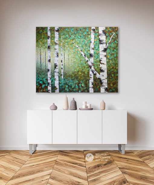 Large fine art painting of aspen trees and birch trees in green forest by Canadian landscape artist Melissa McKinnon 'Spring Glow'
