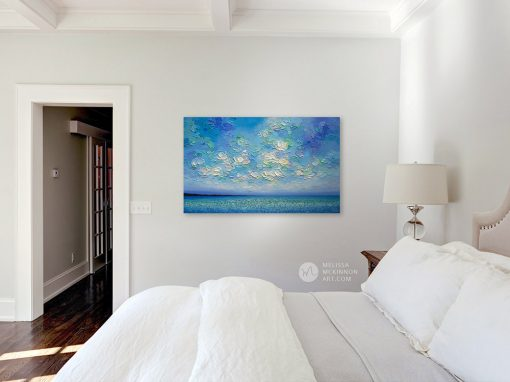 Original Colorful Painting of Ocean and Sunset Sky by Canadian Contemporary Landscape Artist Melissa McKinnon