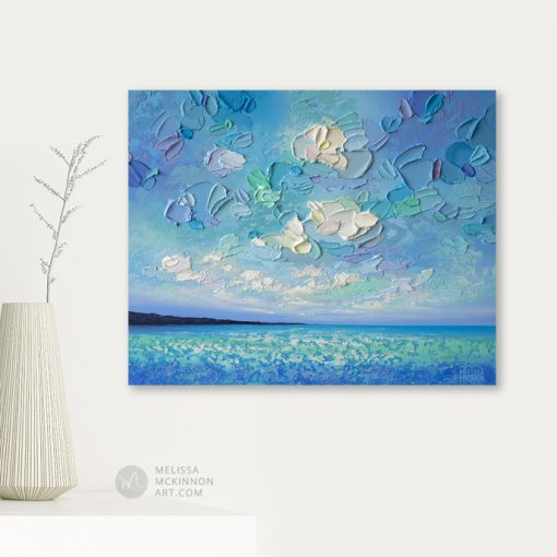 Original Seascape Painting of Ocean and Cloudy Sky by Canadian Contemporary Landscape Artist Melissa McKinnon Giclee Art Prints on Canvas
