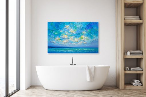 Original Seascape Painting of Ocean and Sunset Sky by Canadian Contemporary Landscape Artist Melissa McKinnon Art displayed in modern spa bathroom