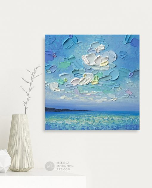 Original Painting of Blue Seascape and Cloudy Sky by Contemporary Landscape Artist Melissa McKinnon Giclee Art Prints on Canvas