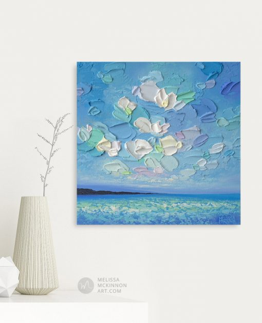 Original Small Painting of Seascape and Cloudy Sky by Contemporary Landscape Artist Melissa McKinnon Giclee Art Prints on Canvas