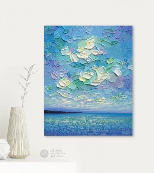 Original Painting of Ocean Seascape and Cloudy Sky by Contemporary Landscape Artist Melissa McKinnon Giclee Art Prints on Canvas